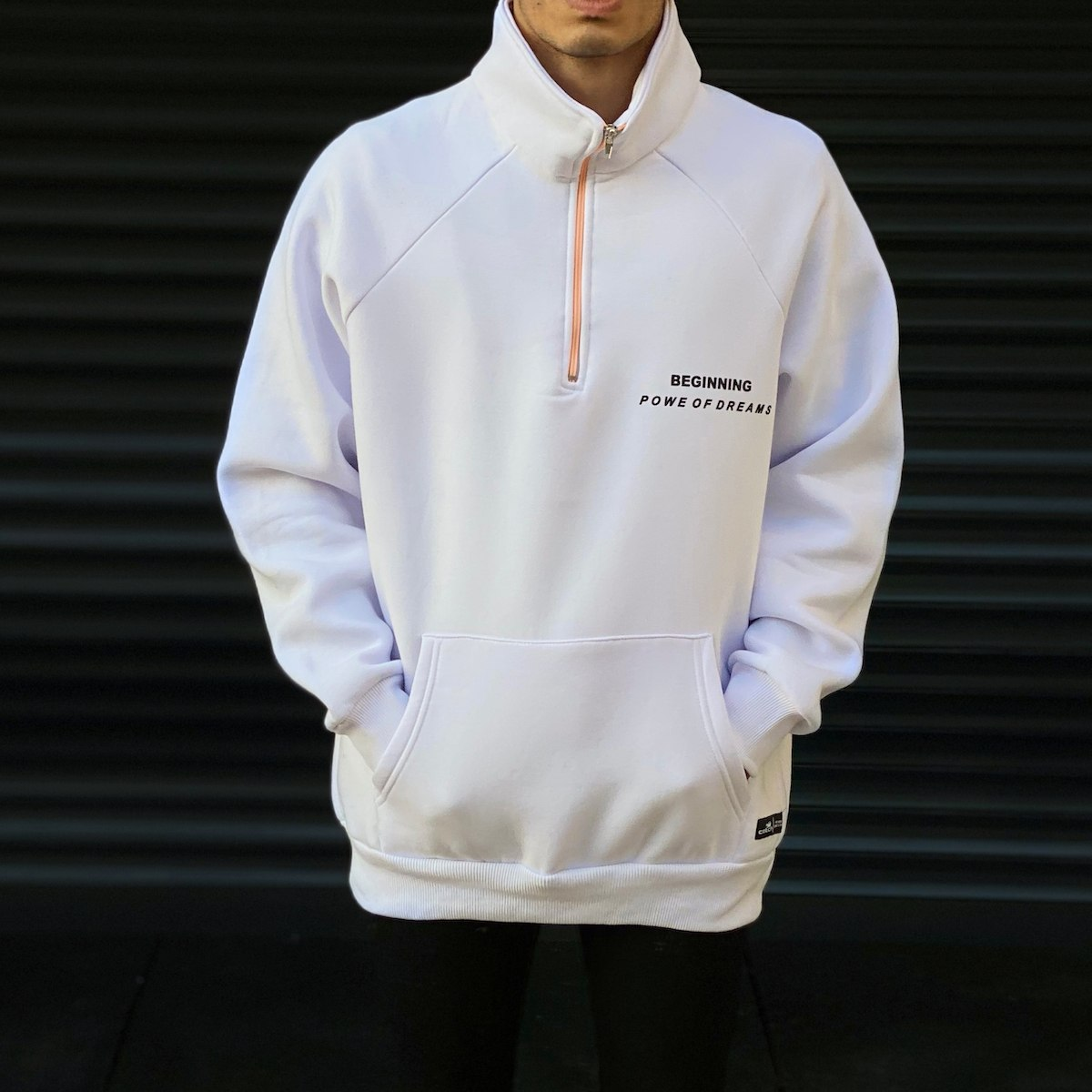 Men's Orange Zipped White Sweatshirt