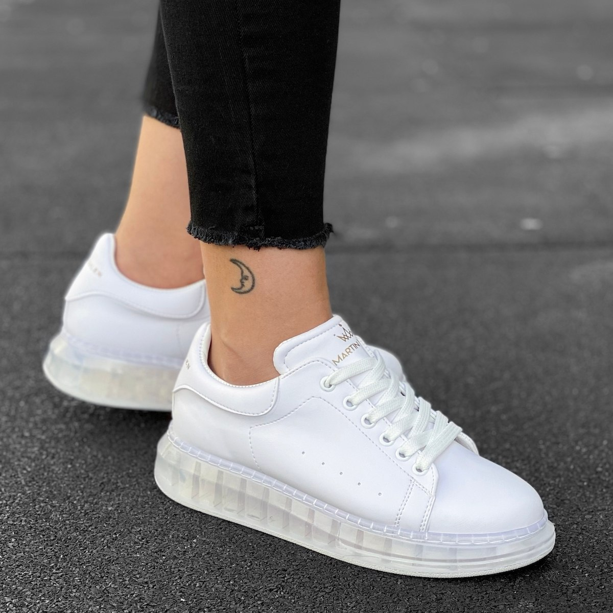 Women's O2 Transparent Hype Sole Sneakers In White