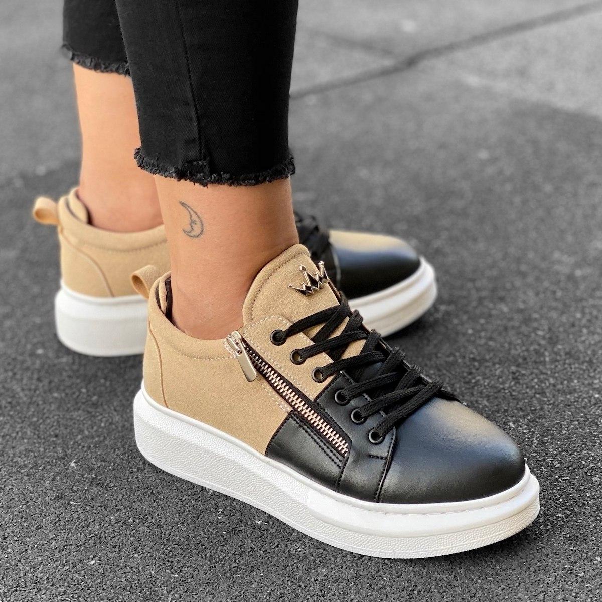 Women's Hype Sole Zipped Style Sneakers In Cream-Black