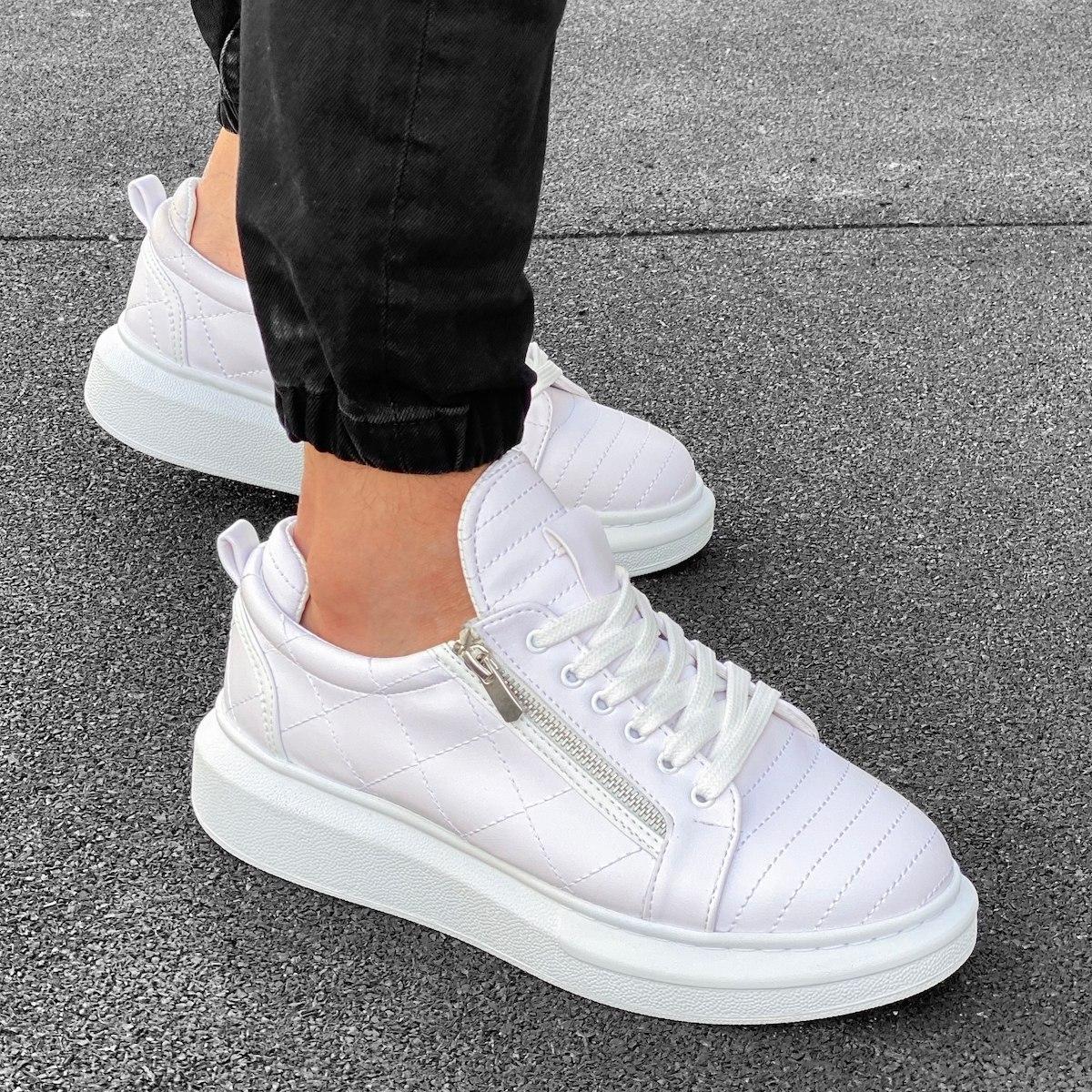 Herren Sneakers Schuhe mit Reißverschluss und Naht in weiß