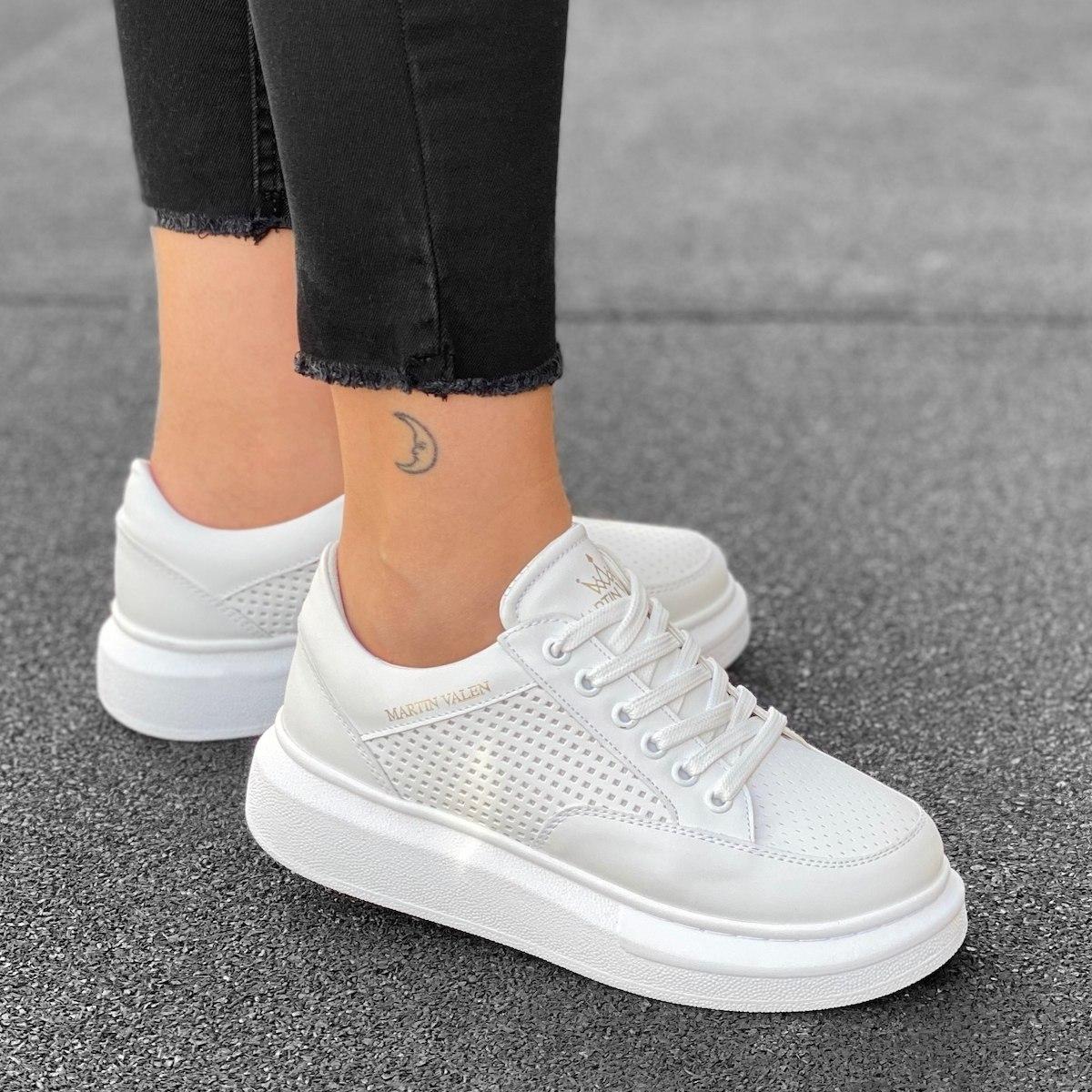 Women's Hype Sole Full Mesh Sneakers In Full White