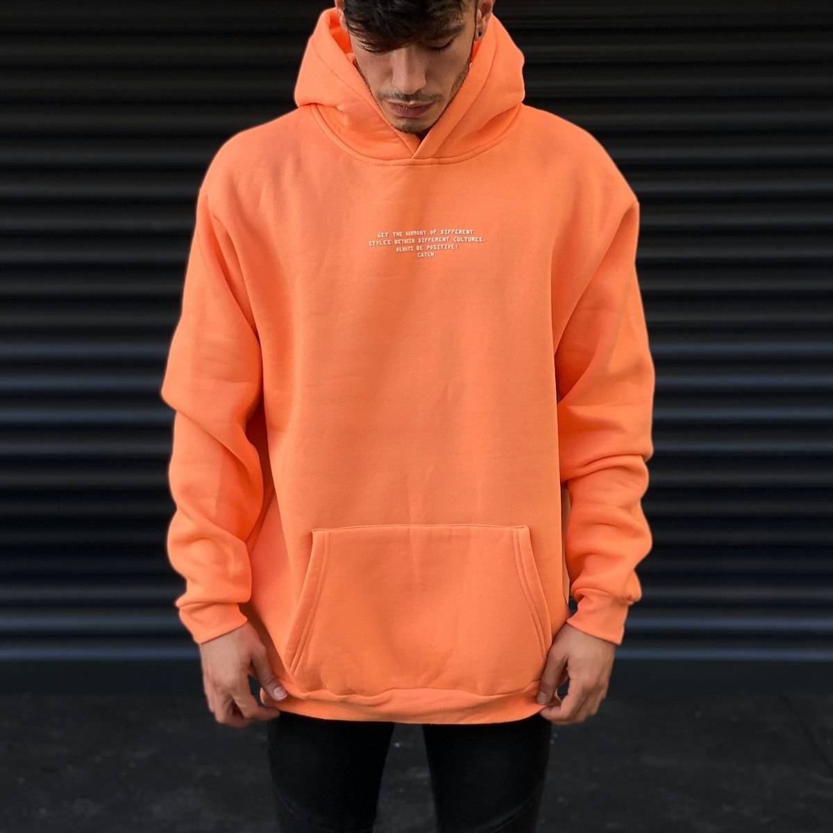 Men's Hoody Text Detailed With Front Pockets In Solmon