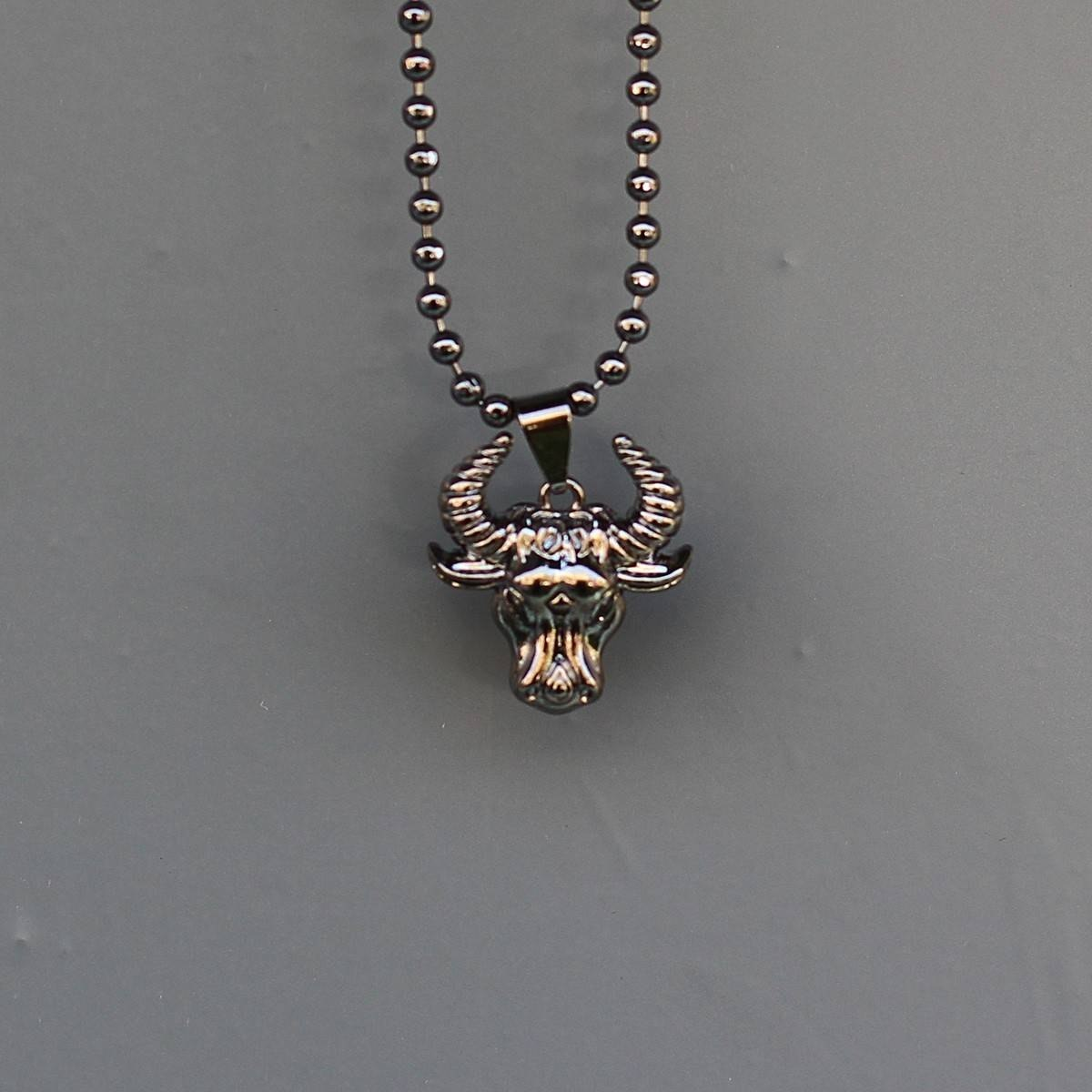 Men's Taurus Necklace Black
