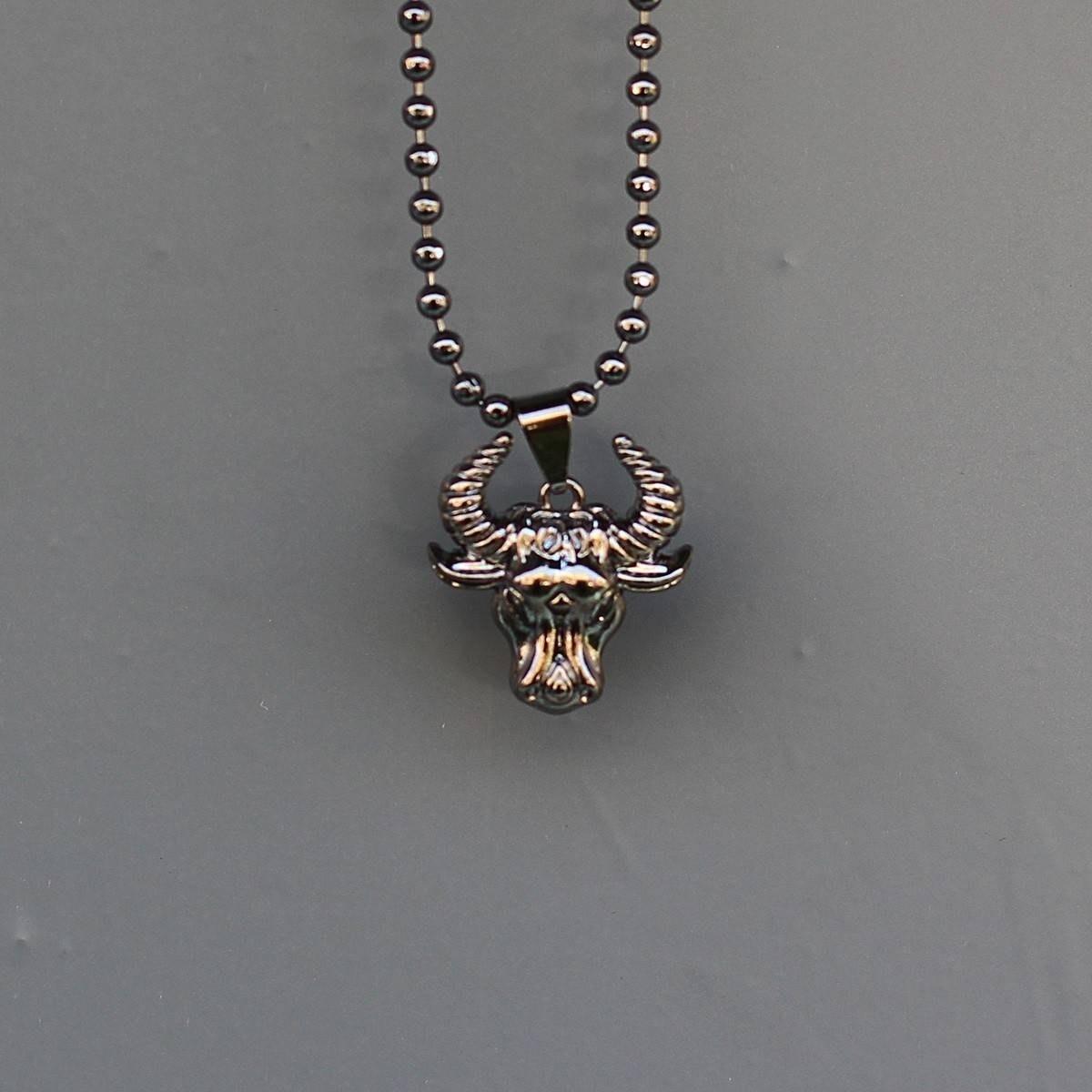 Men's Taurus Necklace Black