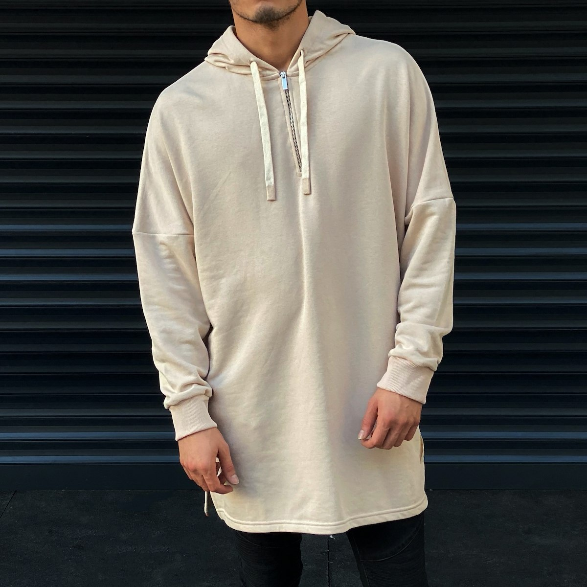 Men's Hooded Long Cut Sweatshirt In Beige