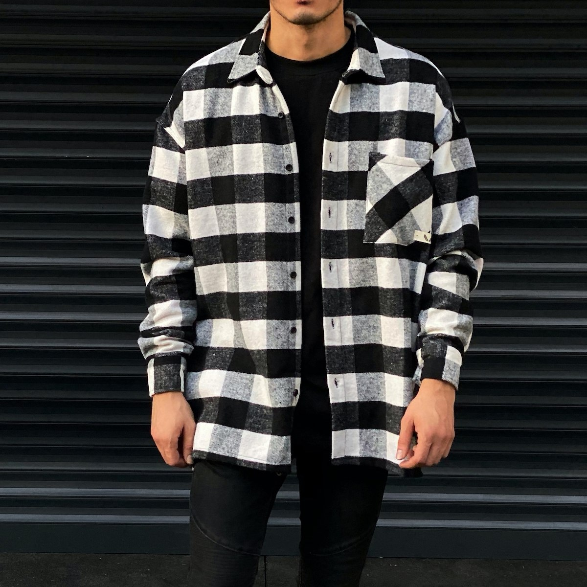 Men's Plaid Woolen Oversize...
