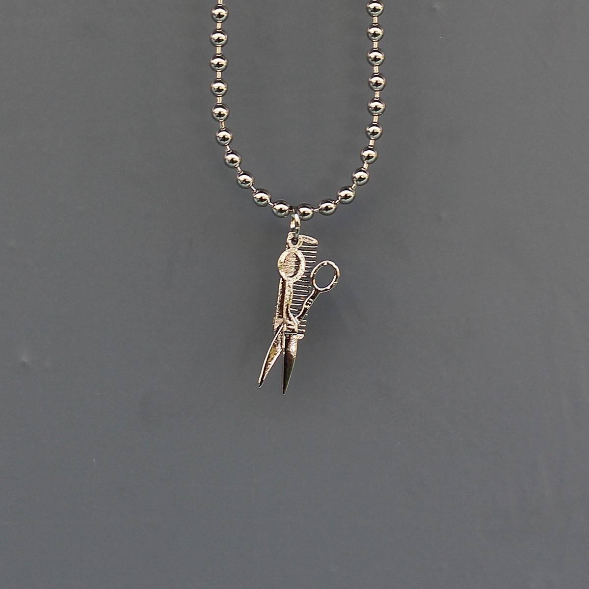Men's Barber Necklace Silver