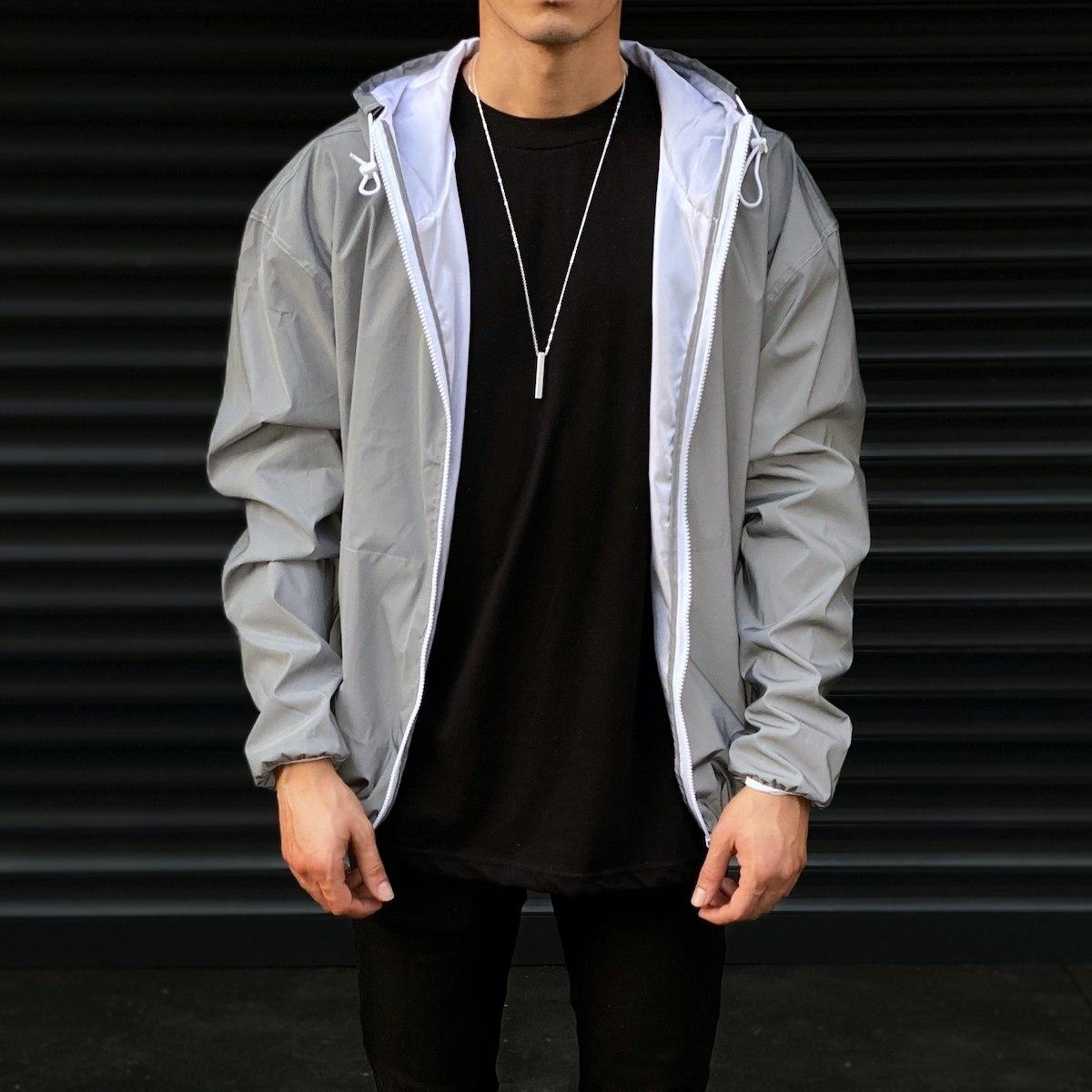 Men's Reflector Raincoat With Hoodie In Gray