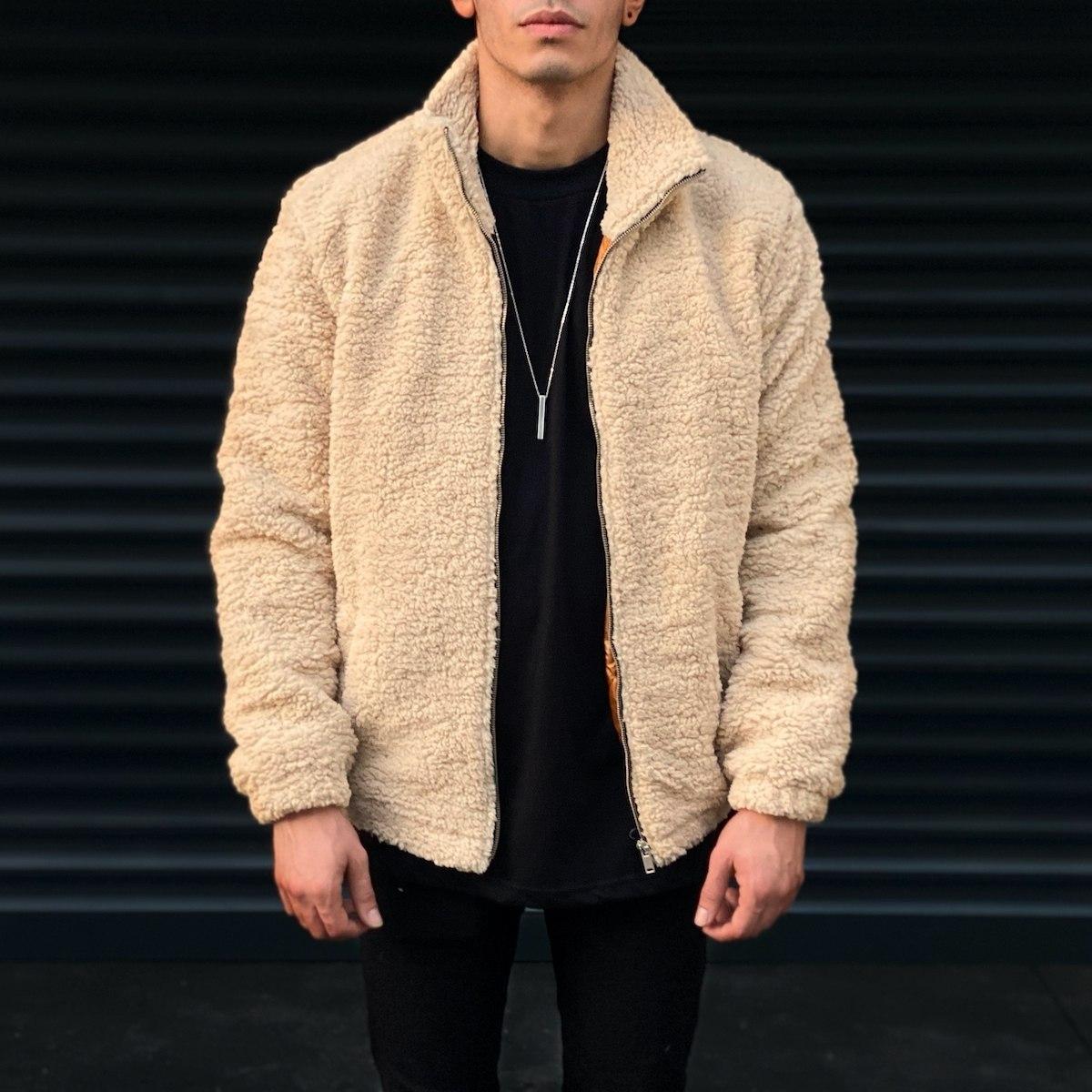 Men's Polar Jacket In Beige