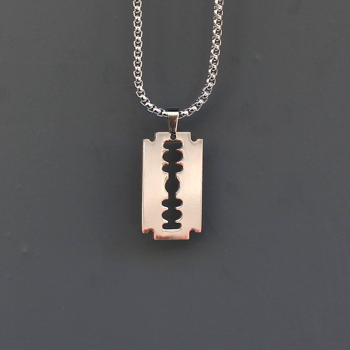Men's Razor Blade Necklace...