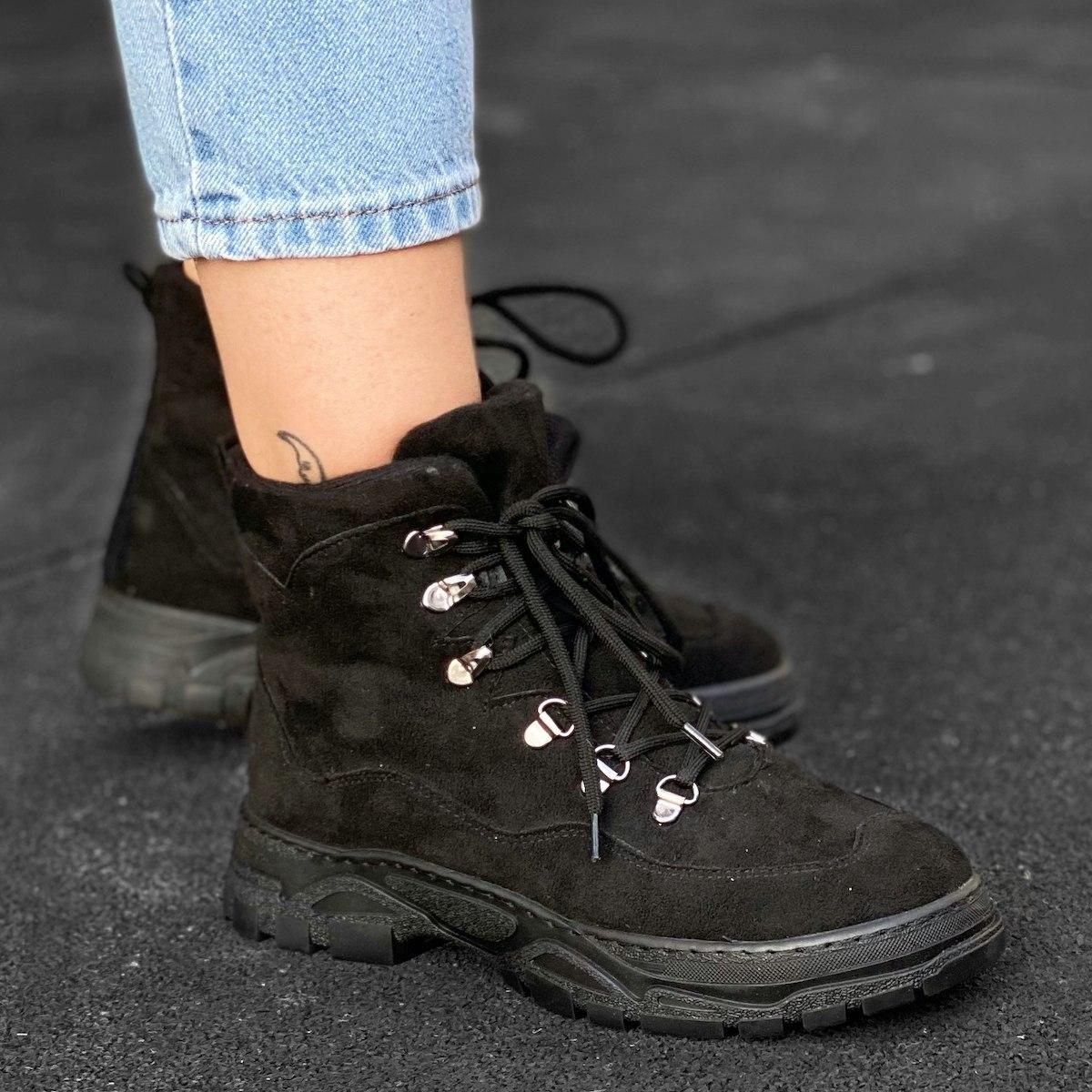 Women's Nubuck Textured Boots In Black