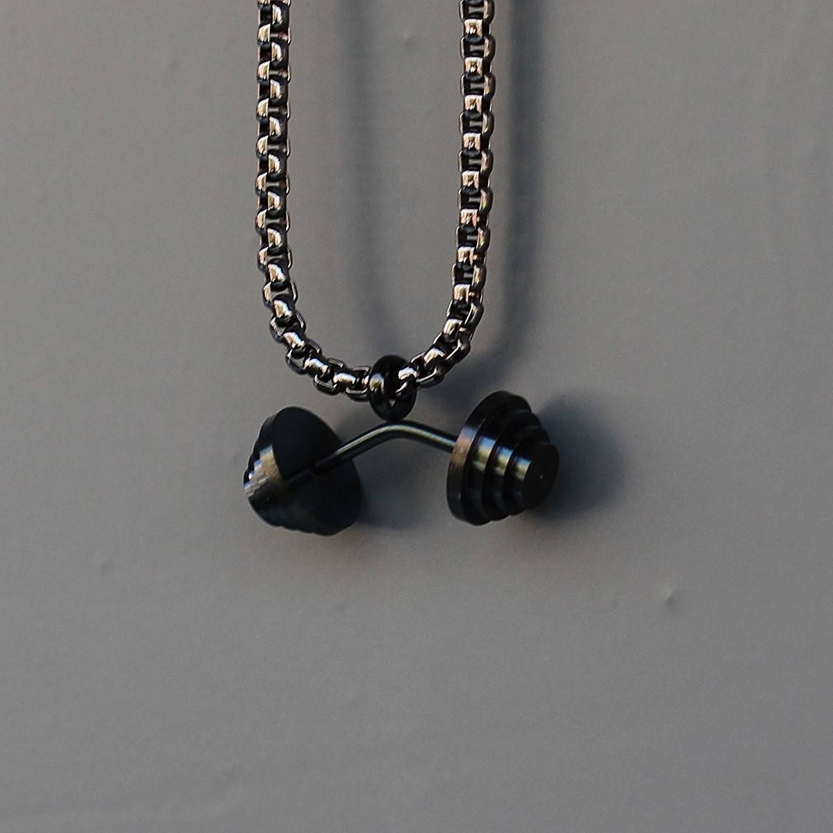Men's Dumbbell Necklace Black