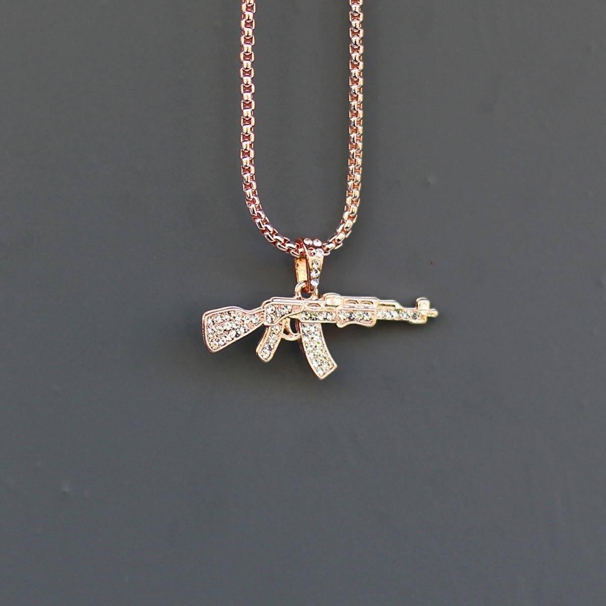 Men's AK-47 Necklace Bronze