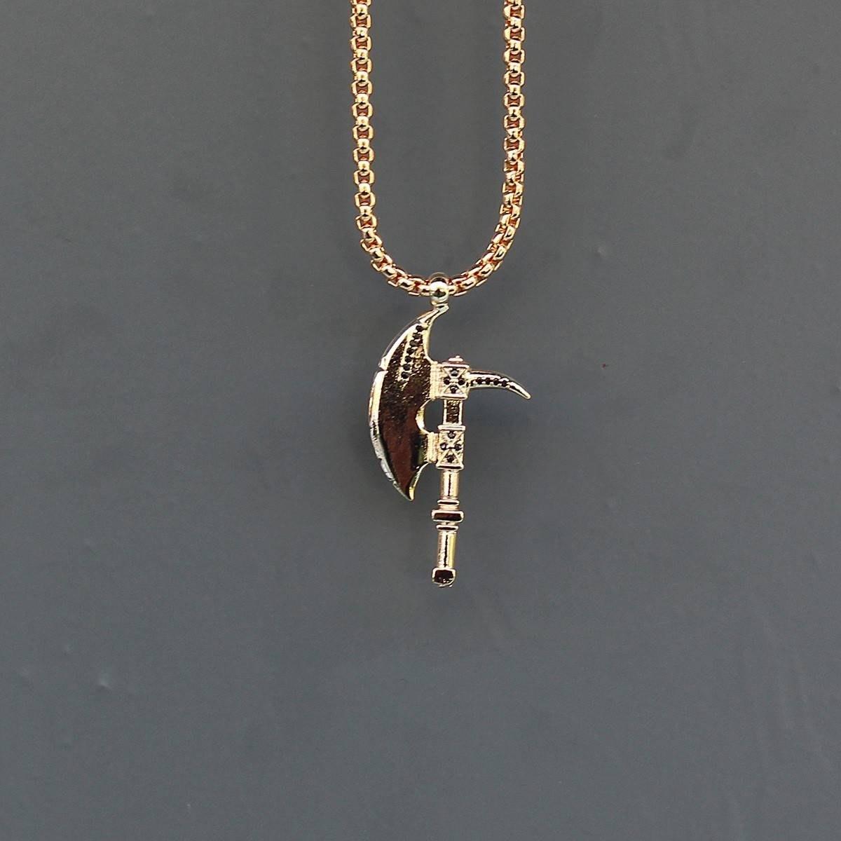 Men's Axe Necklace Gold