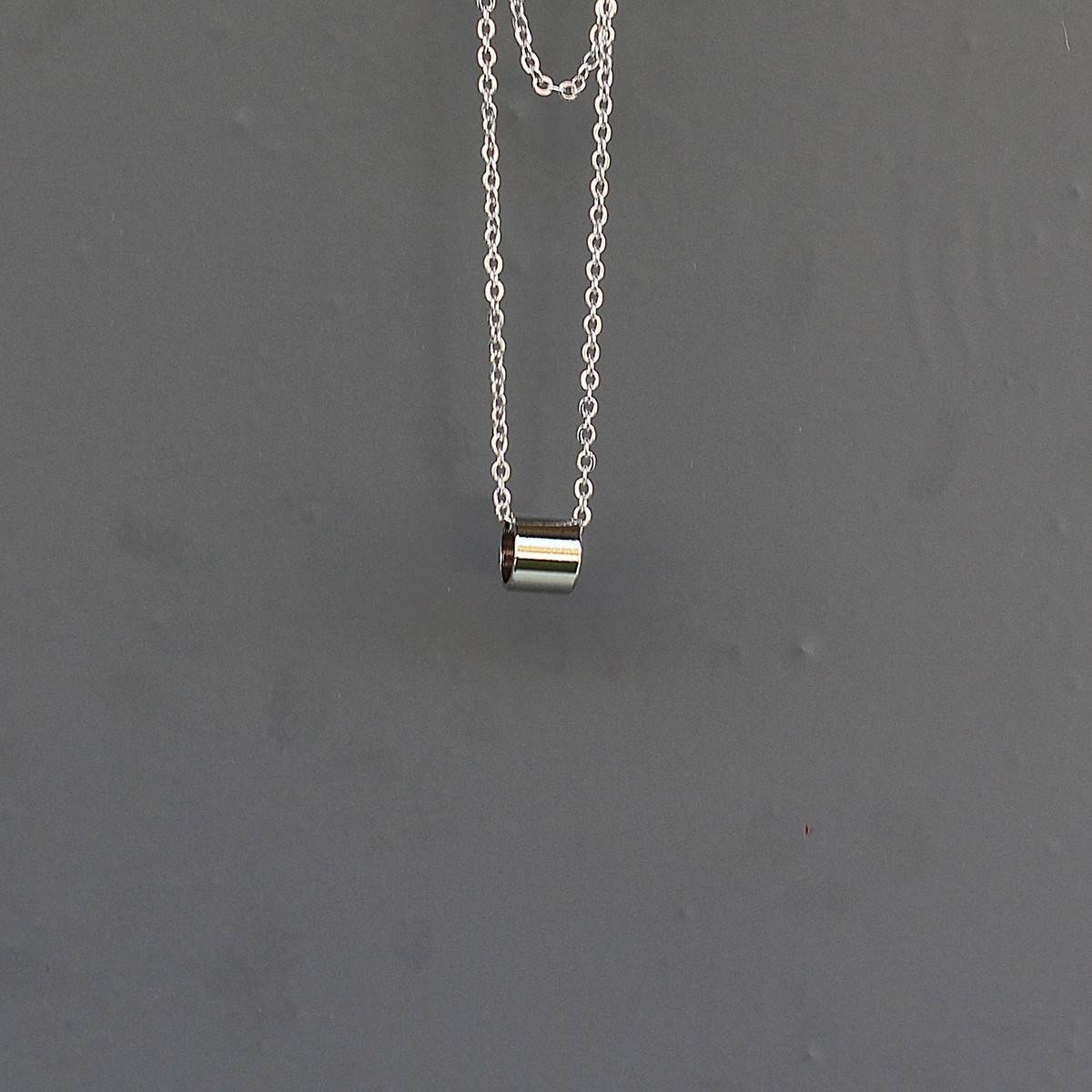 Men's Ring Necklace Silver