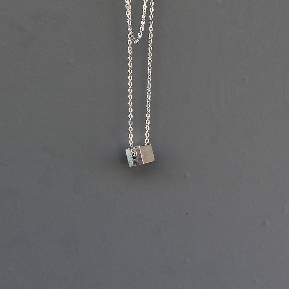 Men's Cube Necklace Silver