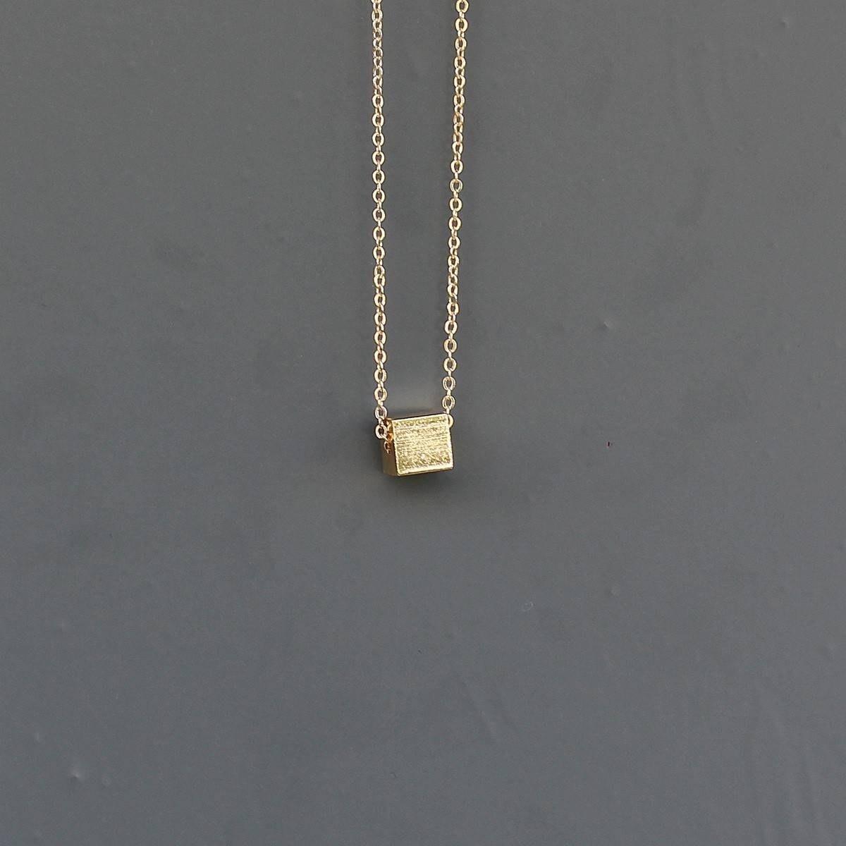 Men's Cube Necklace Gold