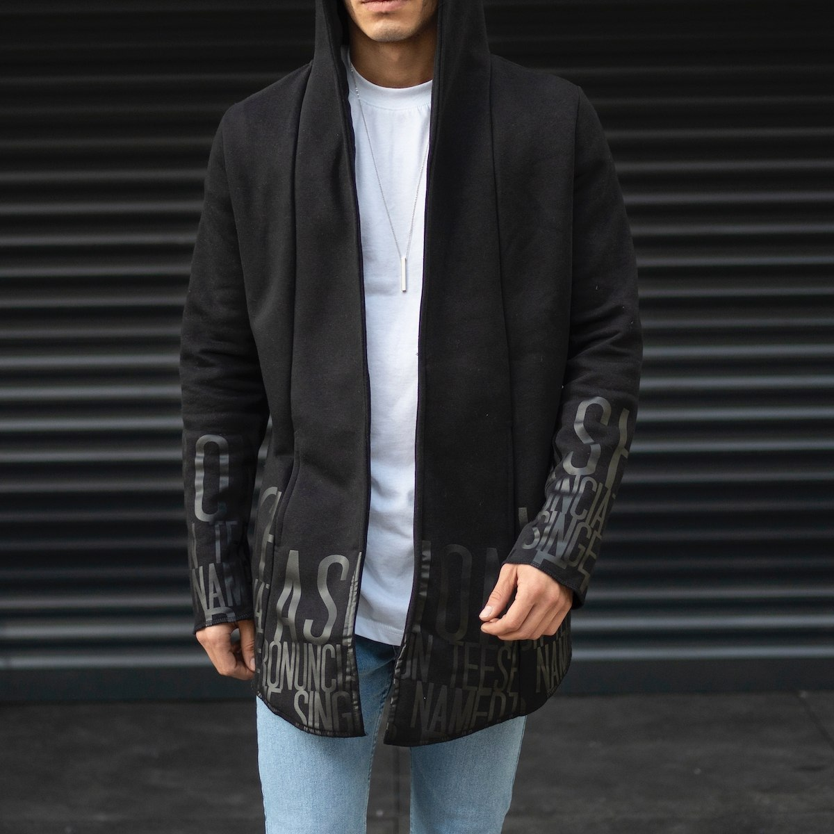 Men's Text Detailed Hooded Pancho In Black