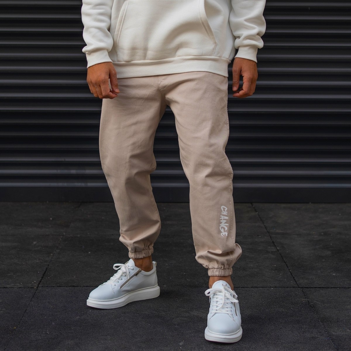Men's Joggers With Text Details In Beige