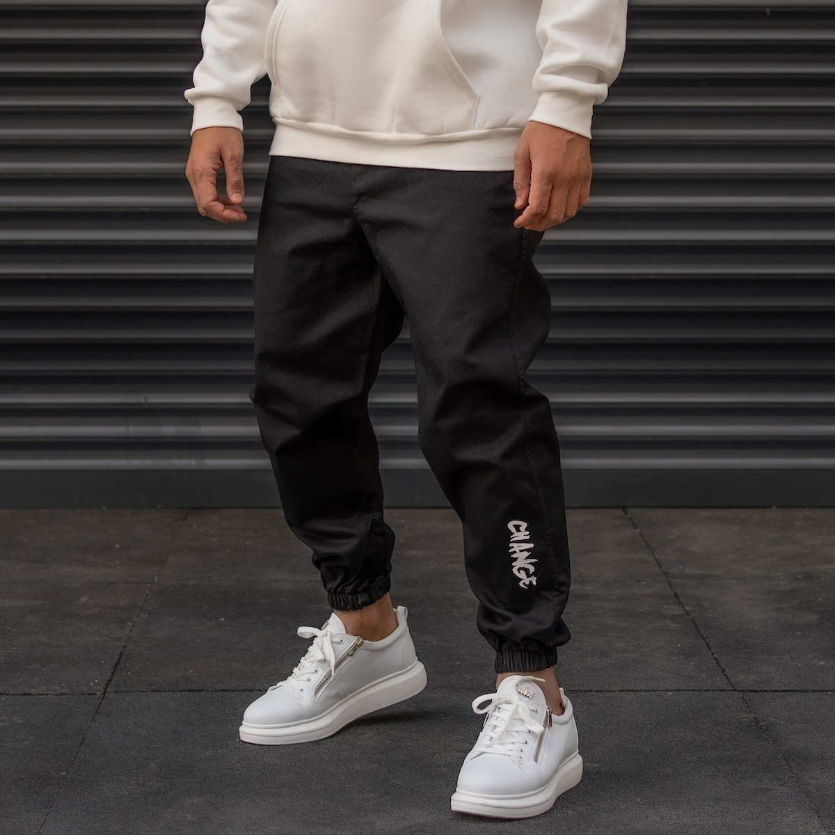 Men's Joggers With Text Details In Black