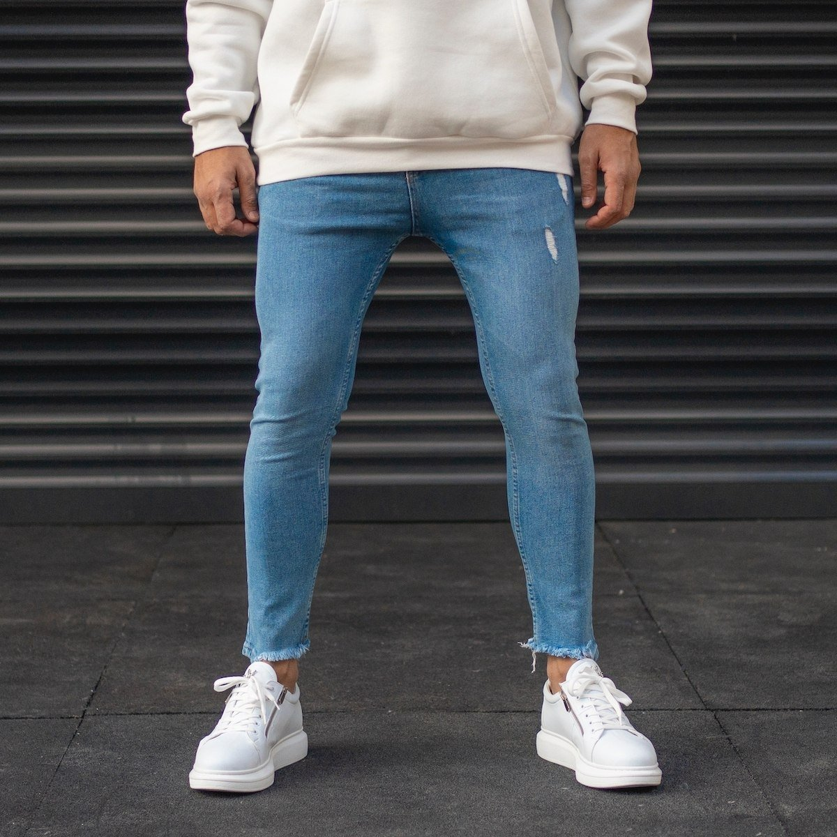 Men's Distorted Ankle Washed Jeans