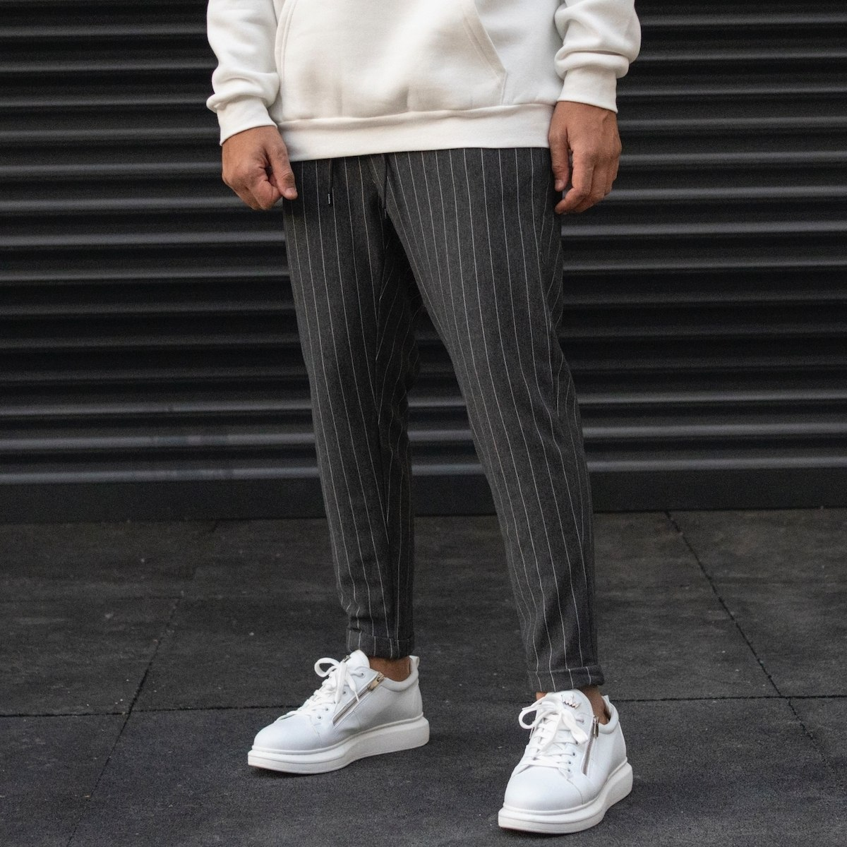 Men's Striped Trousers In Fume