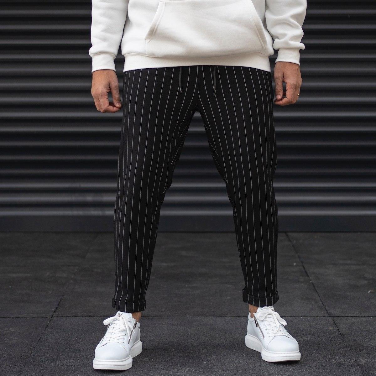 Men's Striped Trousers In Black
