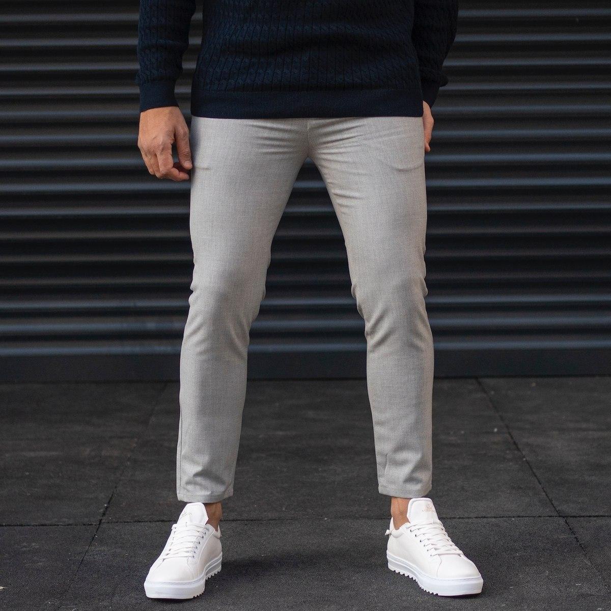 Men's Basic Plain Trousers In Gray
