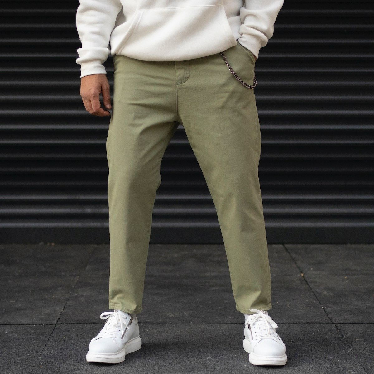 Men's Oversize Boyfriend Basic Jeans With Chain Detail In Olive Green
