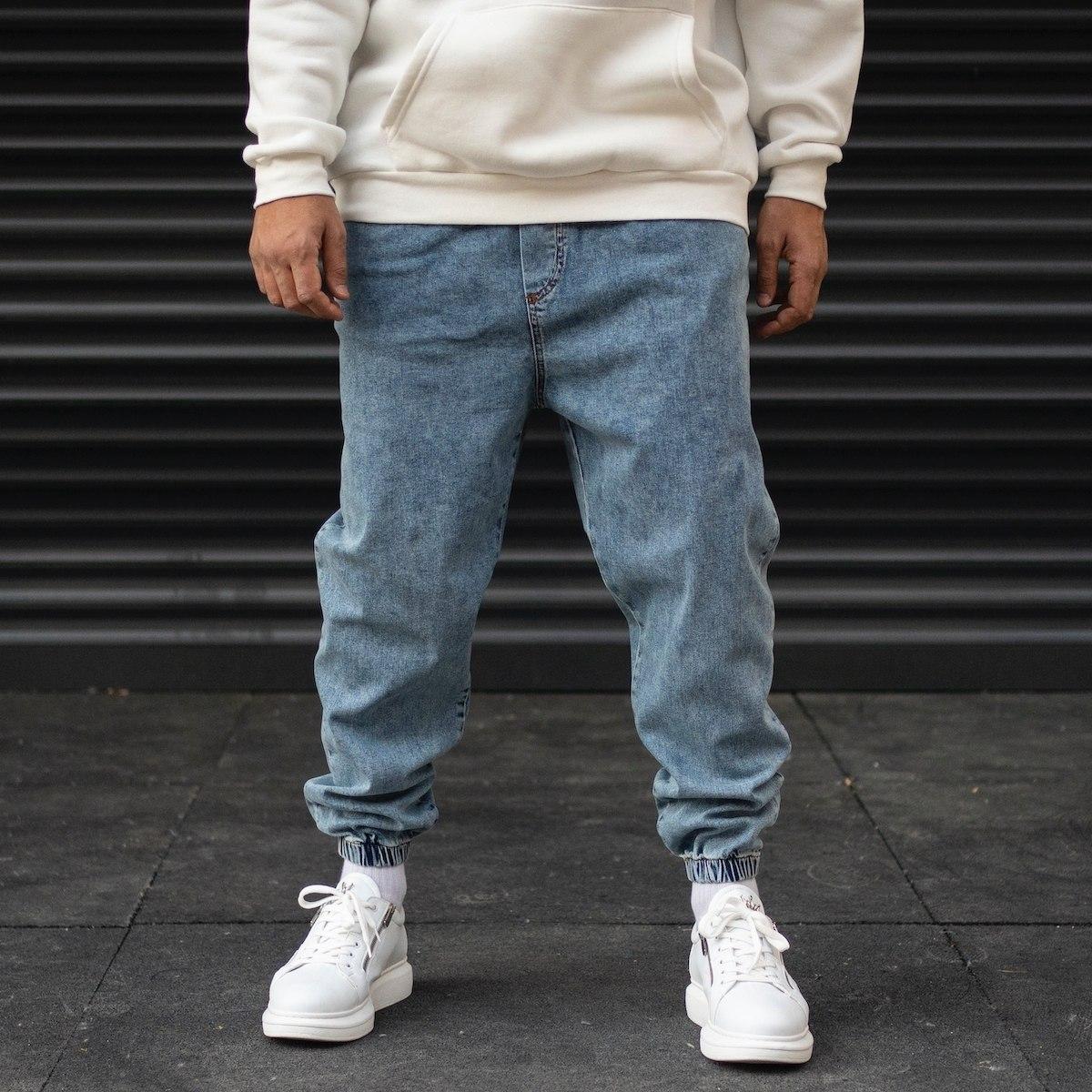 Men's Oversize Jogger Jeans With Elastic Hem In Blue