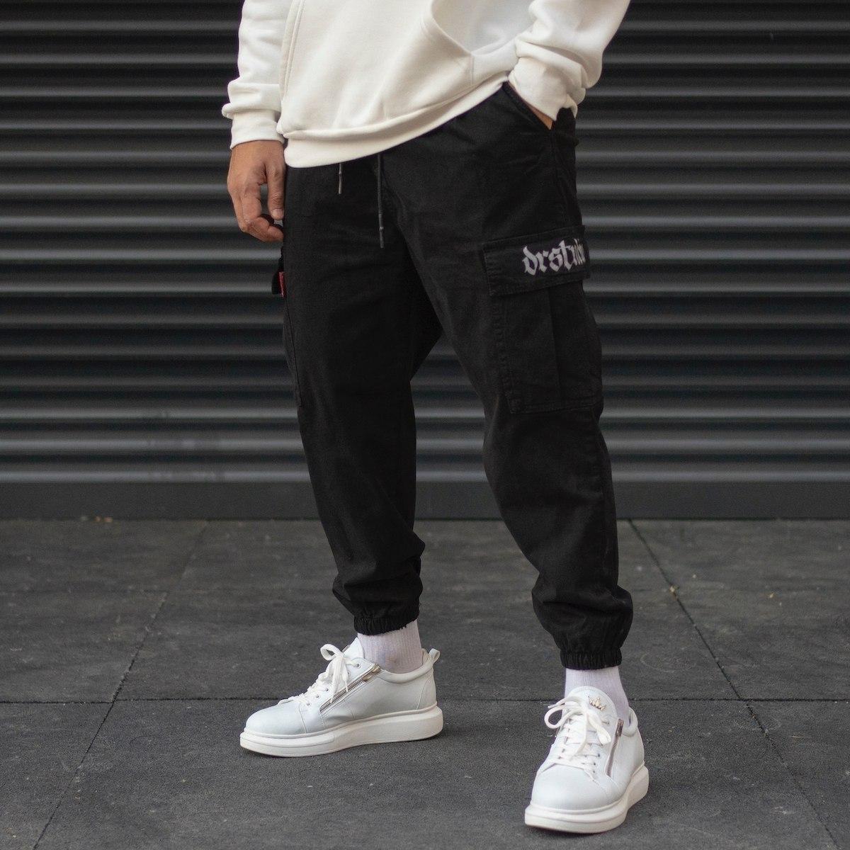 Men's Cargo Pocket Oversize Jogger Jeans With Elastic Hem In Black