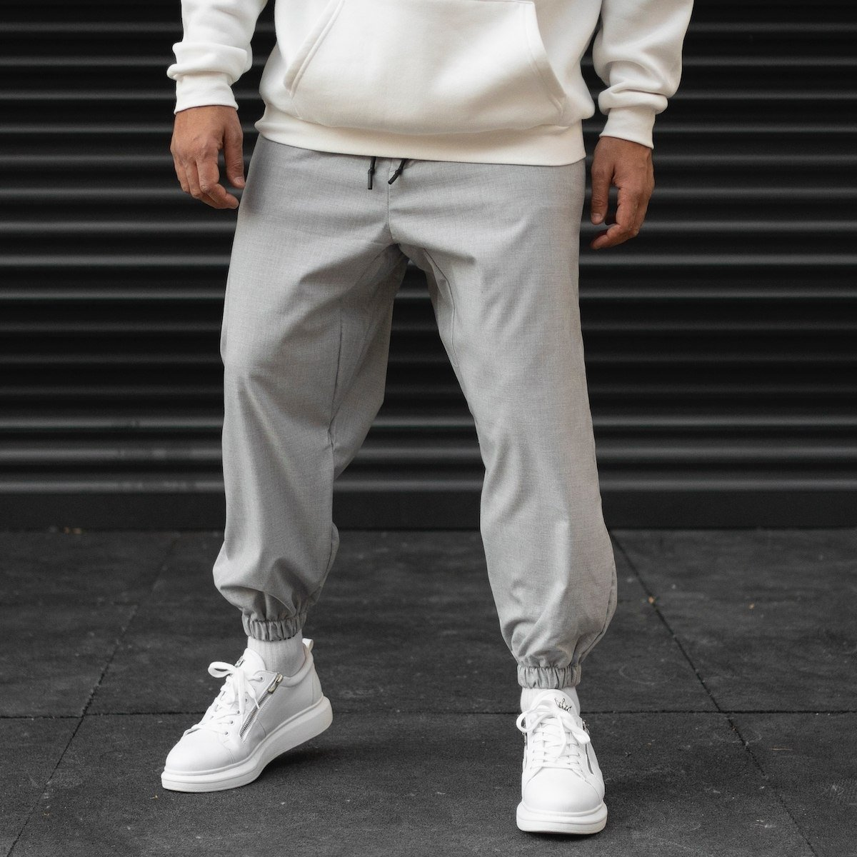 Men's Oversize Textured Sweatpants With Elastic Hem