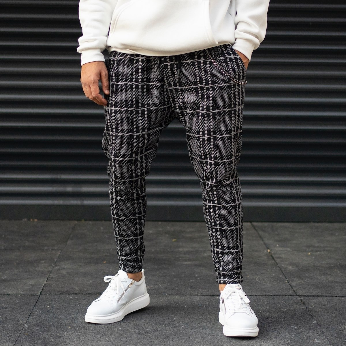 Men's Plaid Shalwar Sweatpants With Chain Detail In Fume