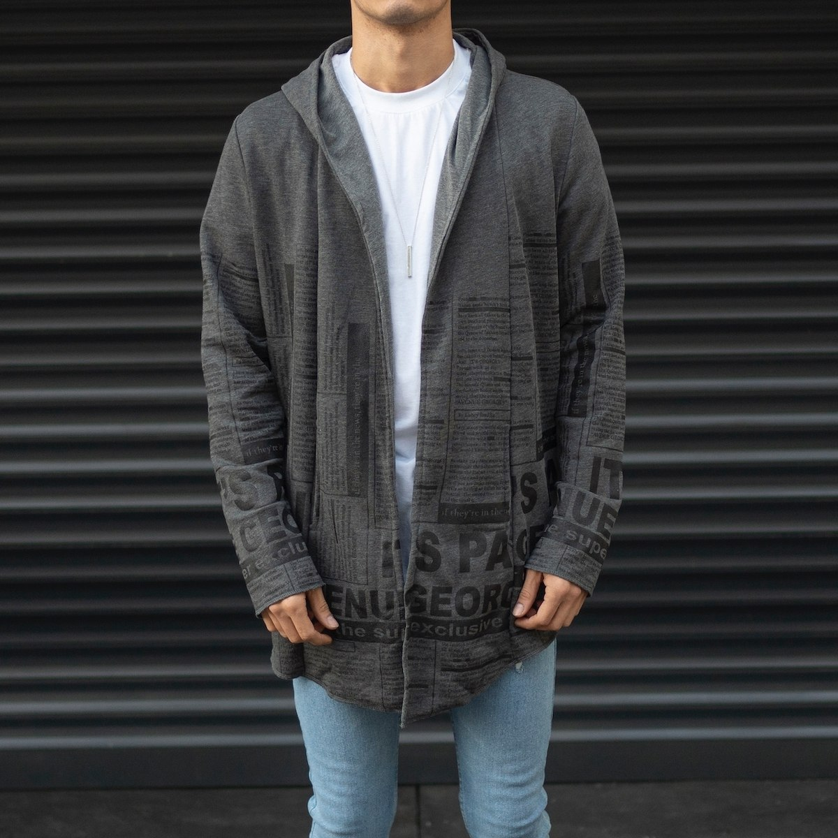 Men's Striped Hooded Cardigan With Text Detail In Fume