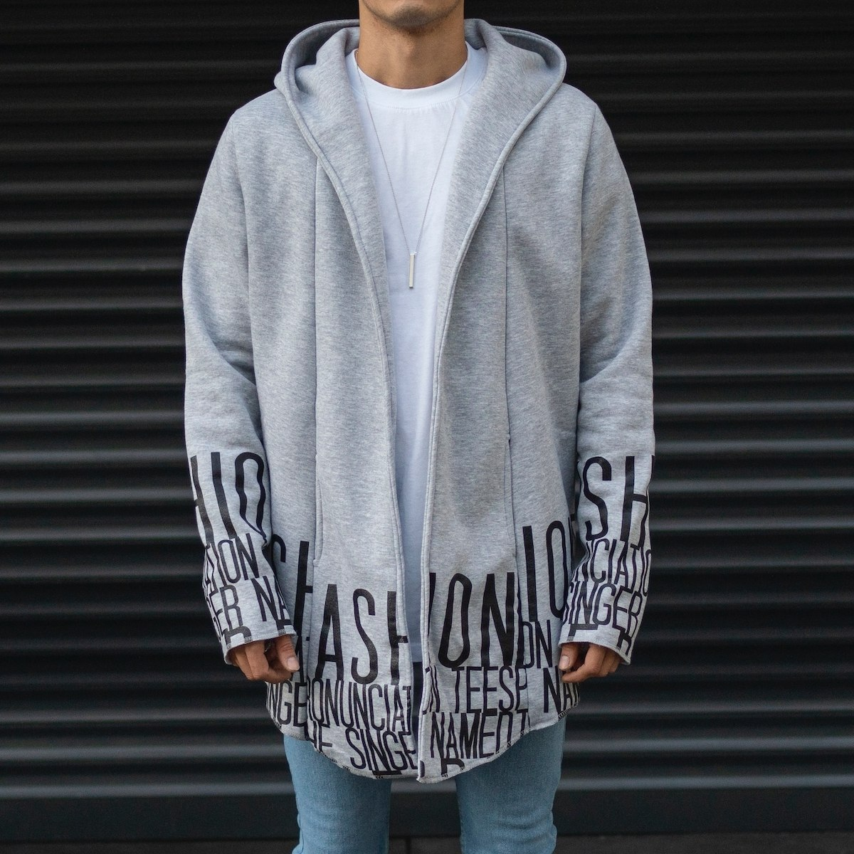 Men's Hooded Cardigan With Text Detail In Gray