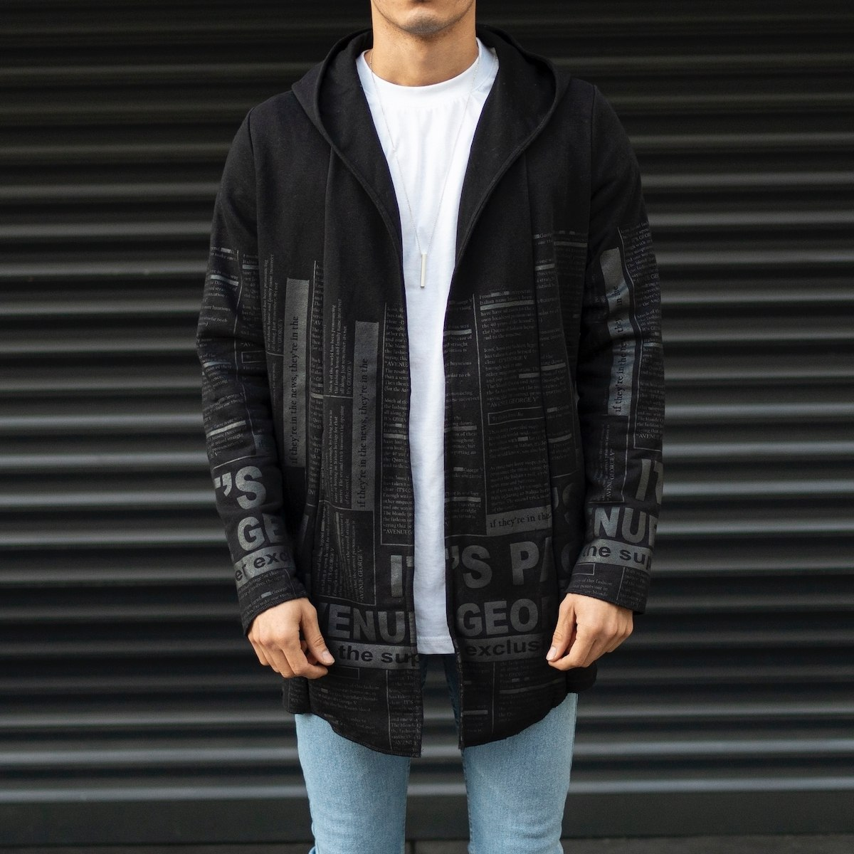 Men's Hooded Cardigan With Text Detail In Black