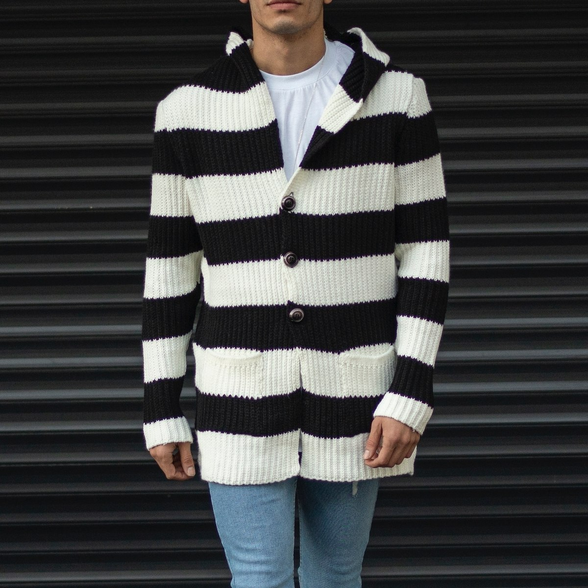 Men's Striped Woolen Pancho With Front Pocket
