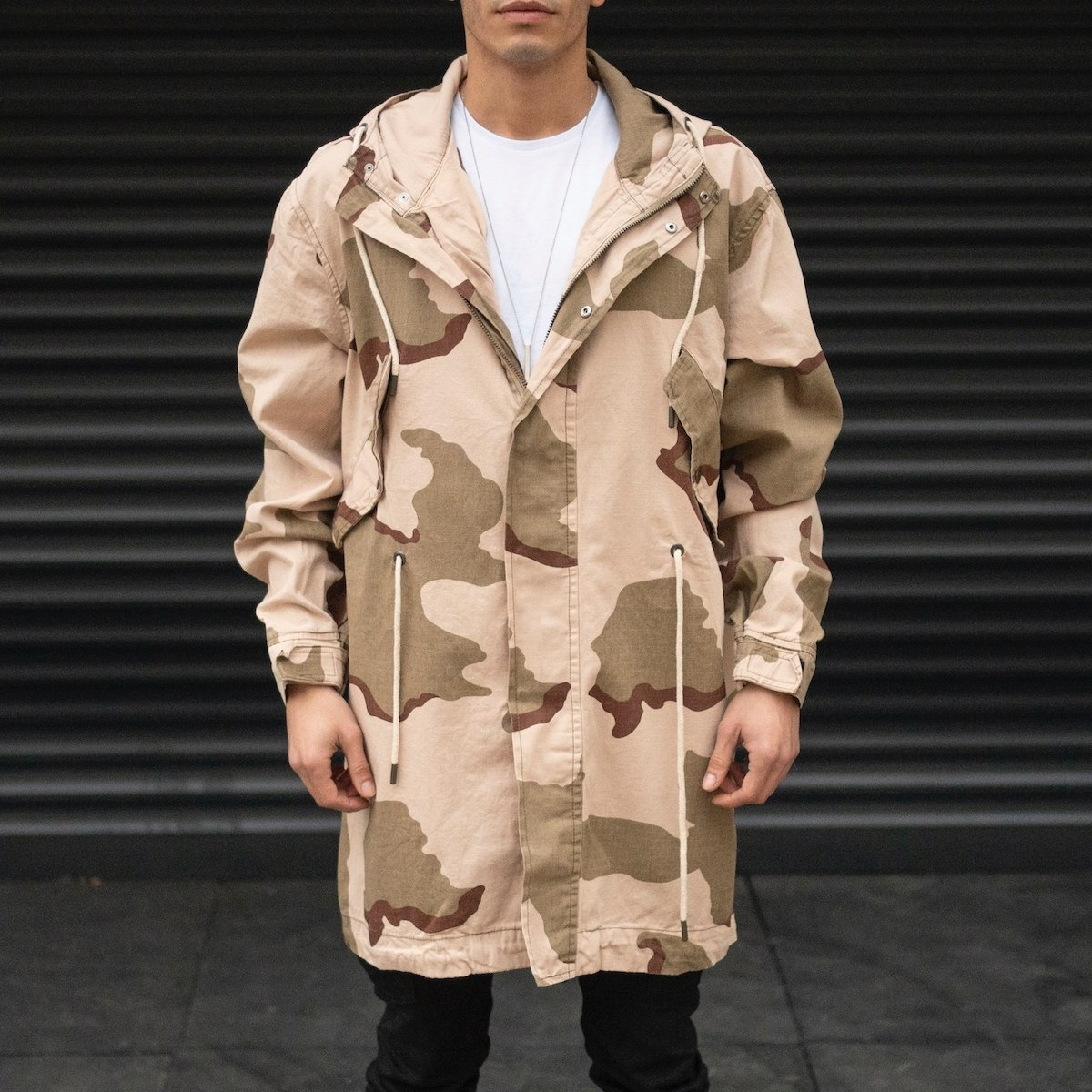 Men's Desert Camo Patterned Coat In Cream