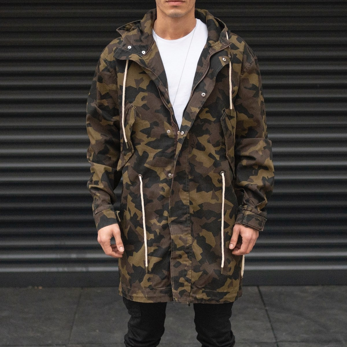 Men's Camo Patterned Coat In Khaki
