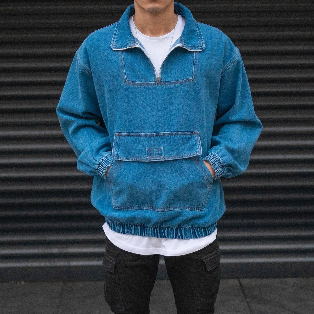 Men's Denim Jacket With Kangaroo Pocket In Blue