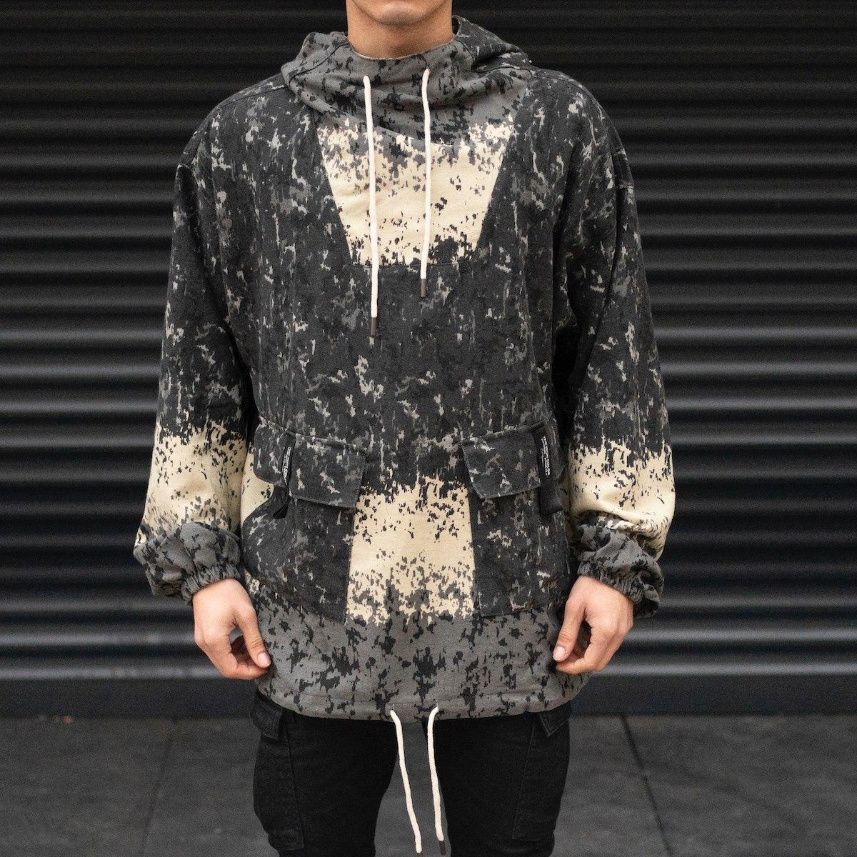 Men's Paint Splash Patterned Linen Hoodie In Anthracite