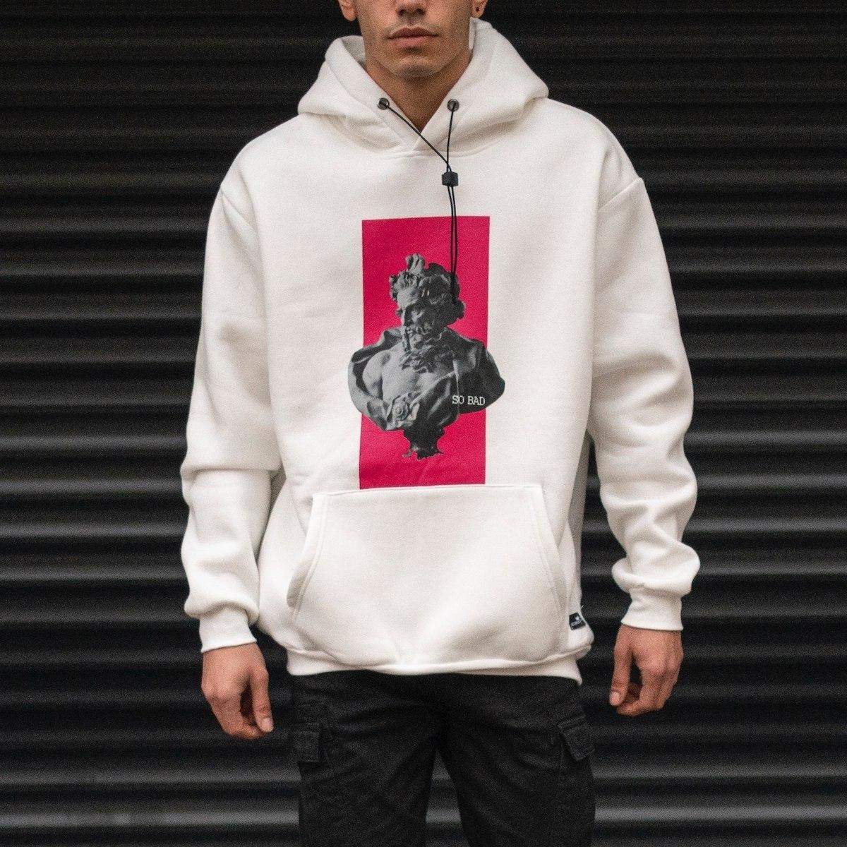 Men's Zeus Printed Cotton Oversize Hoodie Sweatshirt In White