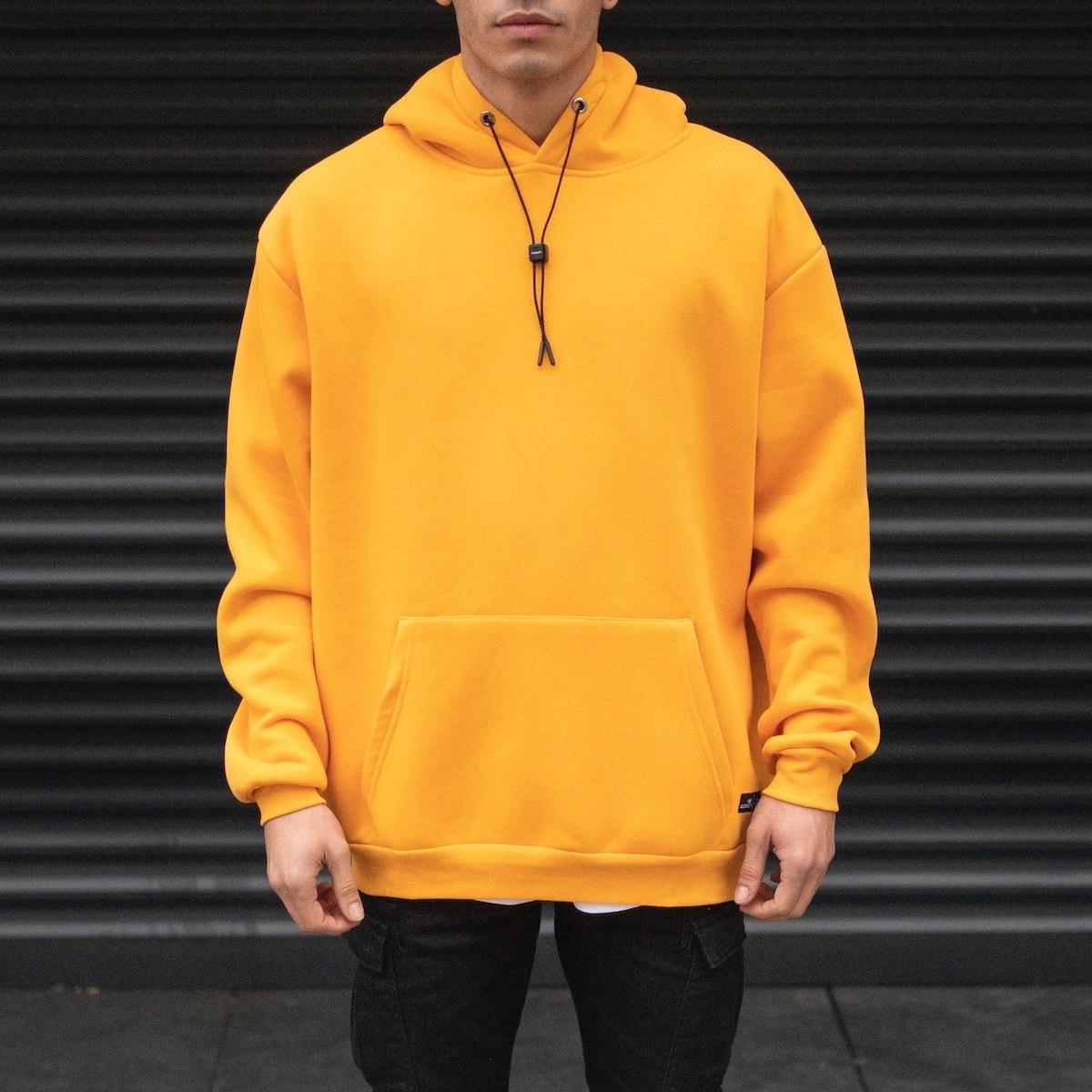 Men's Oversize Basic Hoodie Sweatshirt With Kangaroo Pocket In Mustard