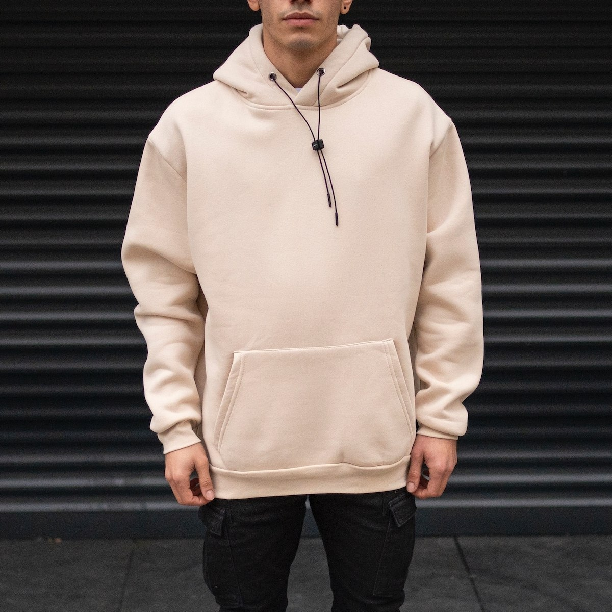 Men's Oversize Basic Hoodie Sweatshirt With Kangaroo Pocket In Cream