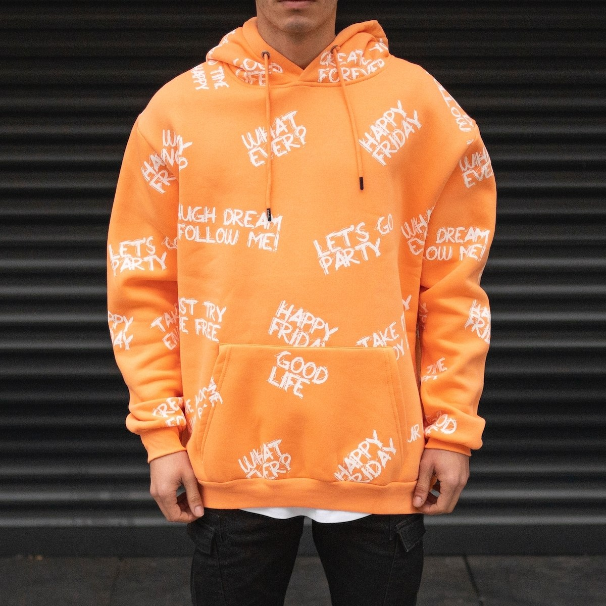 Men's Oversize Text Printed Hoodie Sweatshirt In Pale Orange