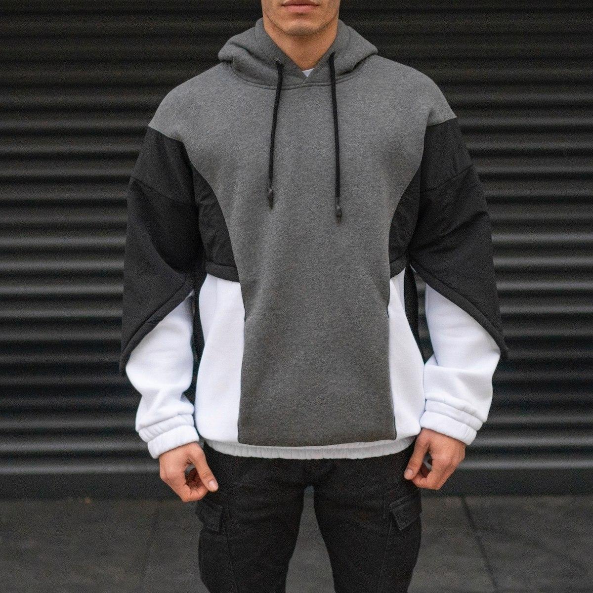 Men's Oversize Block Colored Parachute Textured Hoodie Sweatshirt In Black