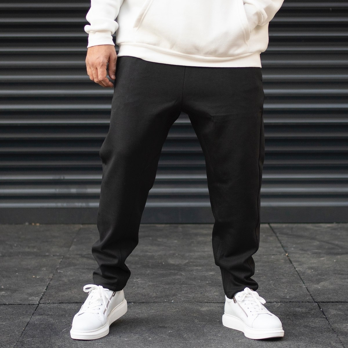 Men's Oversize Loose Fit Basic Sweatpants With Thick Texture In Black