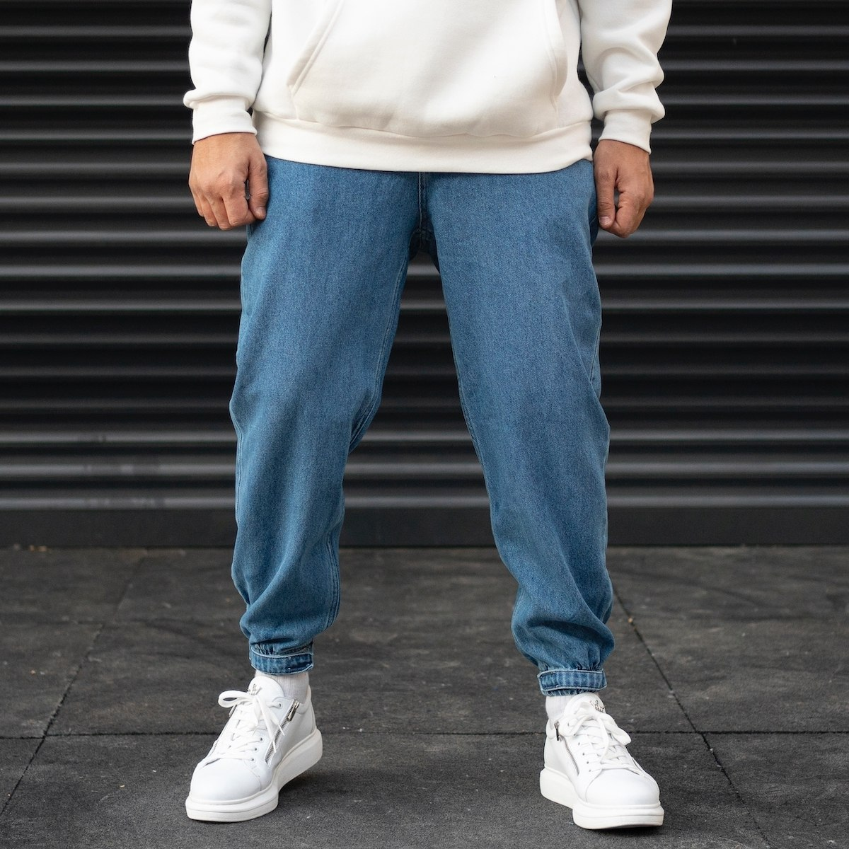Men's Oversize Boyfriend Jogger Jeans With Velcro Leg