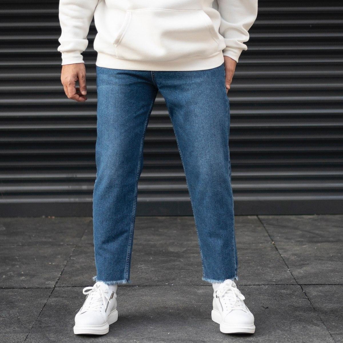 Men's Boyfriend Basic Jeans With Fringed Leg In Blue