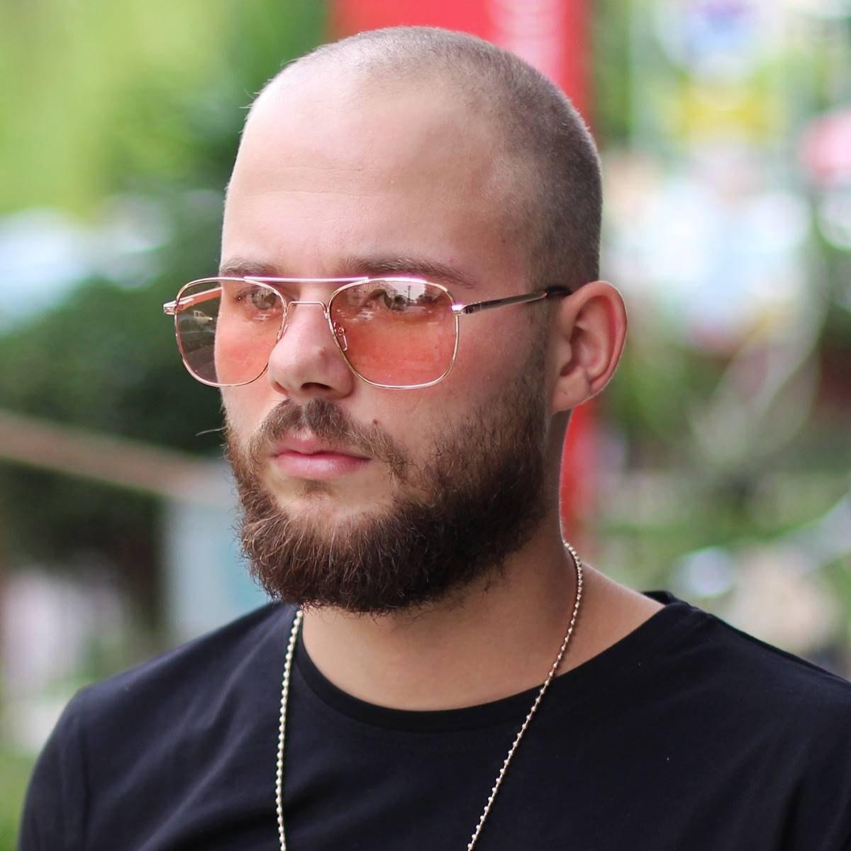 Men's Bridged Retro Sunglasses Pink